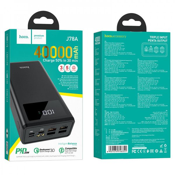 Pin dự phòng sạc nhanh PD QC 3.0 40.000 mah HOCO J78A Chuẩn 23.600mah