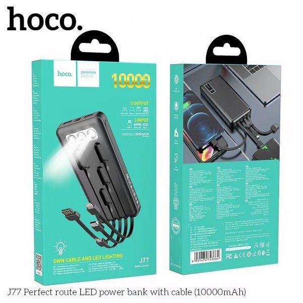 Pin sạc dự phòng Hoco J77 Perfect route LED 10000mAh 3 Inputs, 5 Outputs, đèn pin siêu sáng (Đen)