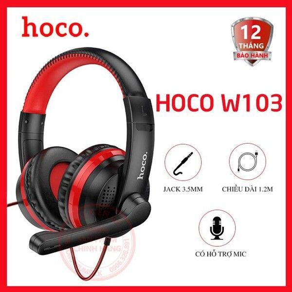 Tai nghe chụp Headphone chơi game có dây Hoco W103 jack 3.5mm dài 1.2m -Tương thích nhiều thiết bị chính hãng