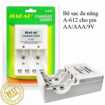 Bộ sạc pin đa năng Jiabao A-612, sạc pin AA, AAA,pin vuông 9V