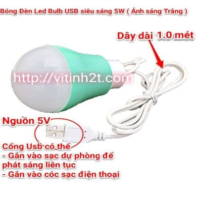Bóng đèn Led, siêu tiết kiệm điện, siêu sáng, cổng USB, 5V, 5w, sử dụng được với cốc sạc điện thoại, pin dự phòng, cổng máy tính