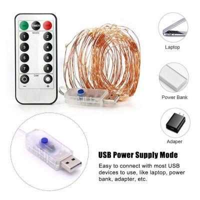 Đèn usb dây dài 10m 100 led có remote điều khiển chống nước