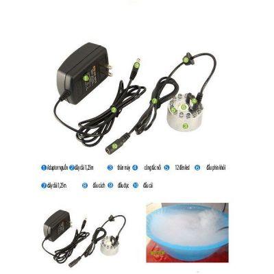 Máy tạo khói phun sương bể cá, thác phong thủy kèm adapter+ đèn đổi màu