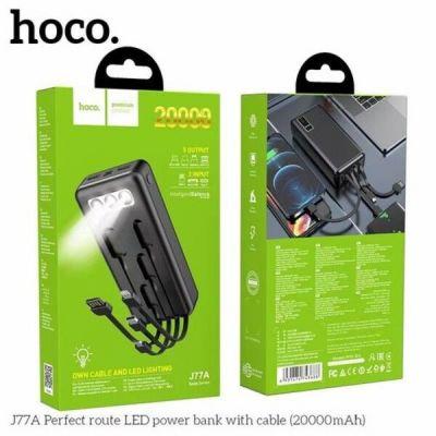 Pin sạc dự phòng Hoco J77A Perfect route LED 20000mAh 3 Inputs, 5 Outputs, đèn pin siêu sáng (Đen)